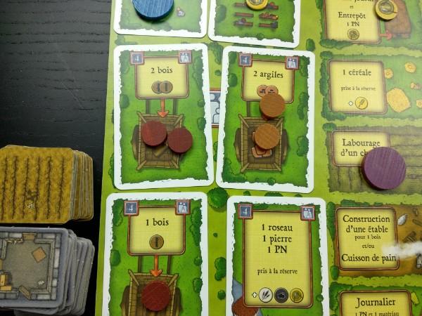 Actions disponibles dès le début du jeu dans Agricola