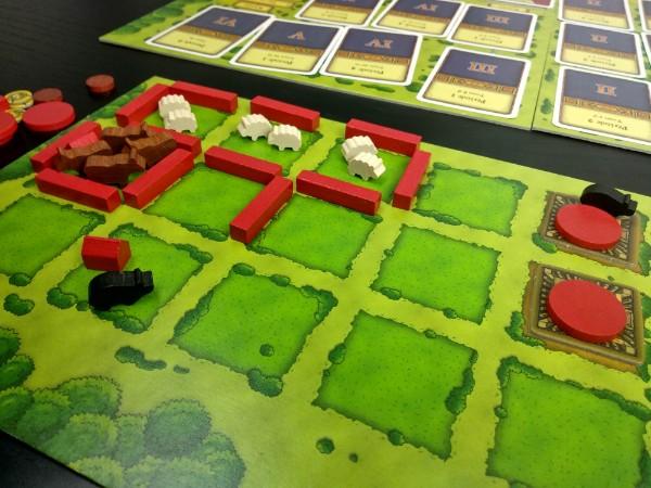 Exemple de disposition des animaux sur le plateau d'un joueur dans le jeu Agricola