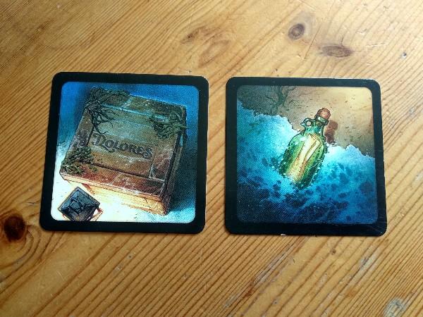 Dos des cartes Marchandises et Bouteille à la mer
