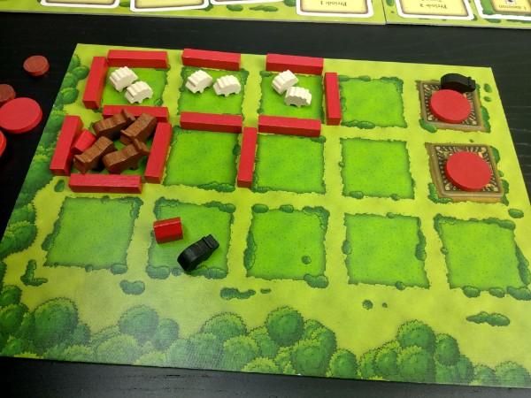 Plateau individuel du jeu Agricola en cours de partie