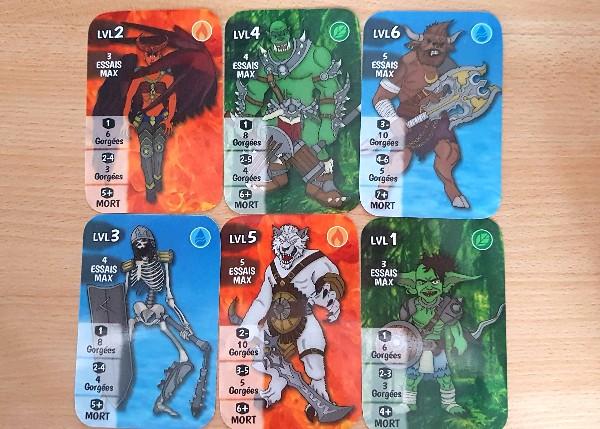 Les 6 cartes monstres différentes du jeu Drinking Heroes